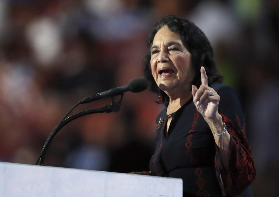 FILE - In this July 28, 2016, file photo, civil rights leader Dolores Huerta speaks during the final day of the Democratic National Convention in Philadelphia. Huerta, a co-founder of the United Farmworkers with Cesar Chavez, is a slated speaker for the 2021 Selma Bridge Crossing Jubilee. (AP Photo/Paul Sancya, File)