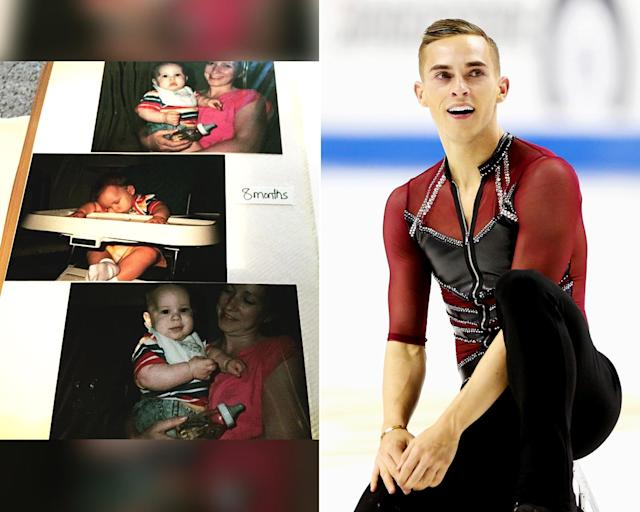 "<p><strong>THEN:</strong> 8-month-old Adam Rippon with his mom.<br><strong>NOW:</strong> His signature skating move, the ""Rippon Lutz,"" is a triple Lutz with both hands above his head.<br> (Photo via Instagram/adaripp, Photo by Matthew Stockman/Getty Images) </p>"