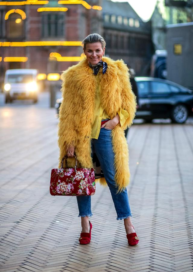 Channelling Big Bird never looked as chic as it did outside Copenhagen Fashion Week in 2016.
