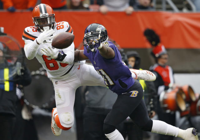 <p>Baltimore Ravens cornerback Anthony Levine (41) breaks up a pass intended for Cleveland Browns tight end David Njoku (85) during the first half of an NFL football game, Sunday, Dec. 17, 2017, in Cleveland. (AP Photo/Ron Schwane) </p>
