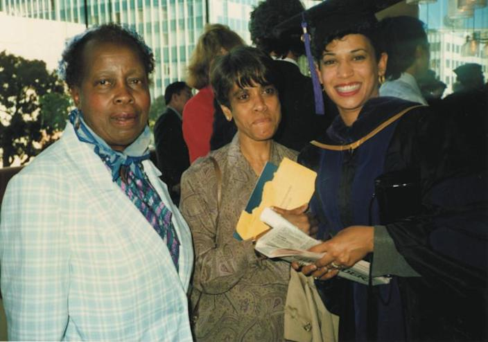 Kamala Harris, right, after graduating from law school in 1989, pictured with mother Shyamala, center, and first-grade teacher, Frances Wilson. (Courtesy of Kamala Harris)