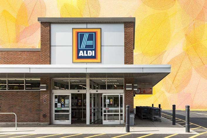 shop of the grocery store Aldi in Brattleboro with fall leaves in the background