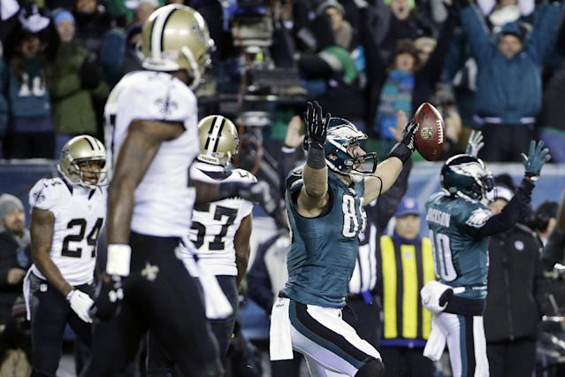 Philadelphia Eagles' Zach Ertz (86) celebrates after scoring a touchdown during the second half of an NFL wild-card playoff football game against the New Orleans Saints, Saturday, Jan. 4, 2014, in Philadelphia. (AP Photo/Matt Rourke)