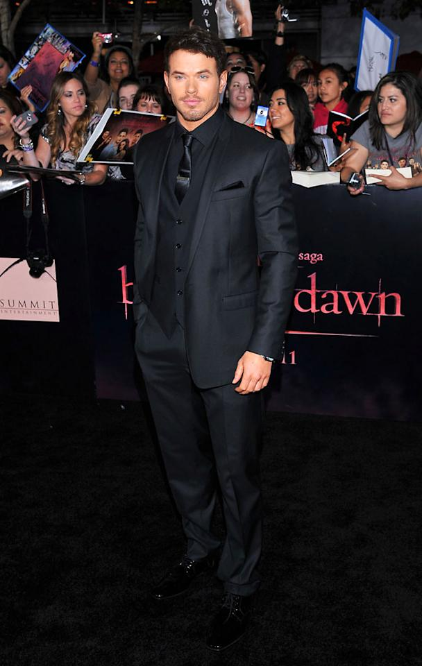 "Kellan Lutz arrives at the red carpet premiere for ""The Twilight Saga: Breaking Dawn – Part 1"" in Los Angeles, CA. (Photo by Vince Bucci/Yahoo!)"