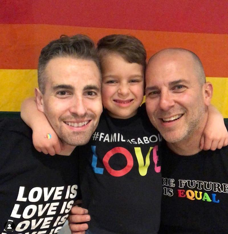 BJ Barone, Milo, and Frankie Nelson, spreading messages of love. (Photo: Family Is About Love/Instagram)