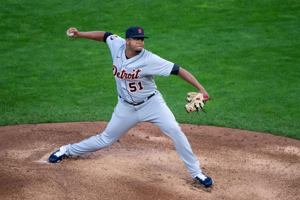Tigers pitcher Rony Garcia pitches in the eighth inning of the 6-2 loss to the Twins on Monday, Sept. 7, 2020, in Minneapolis.