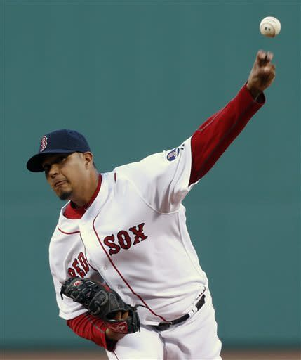 Boston Red Sox's Felix Doubront pitches in the first inning of a baseball game against the Houston Astros in Boston, Saturday, April 27, 2013. (AP Photo/Michael Dwyer)