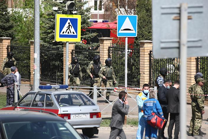 Law enforcement officers are seen outside School No 175 in Kazan, Russia, where two attackers reportedly opened fire leaving at least one teacher and eight students dead. / Credit: Yegor Aleyev/TASS/Getty