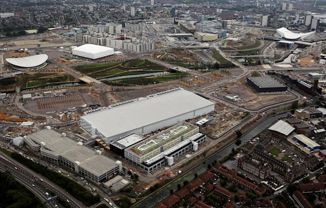 LONDON, ENGLAND - JULY 26: Aerial view of the Main Press Centre which will be used during the London 2012 Olympic Games on July 26, 2011 in London, England. (Photo by Tom Shaw/Getty Images)