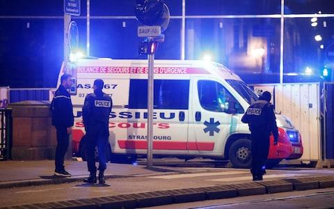 Police secure a street and the surrounding area after a shooting in Strasbourg - Credit: VINCENT KESSLER/Reuters