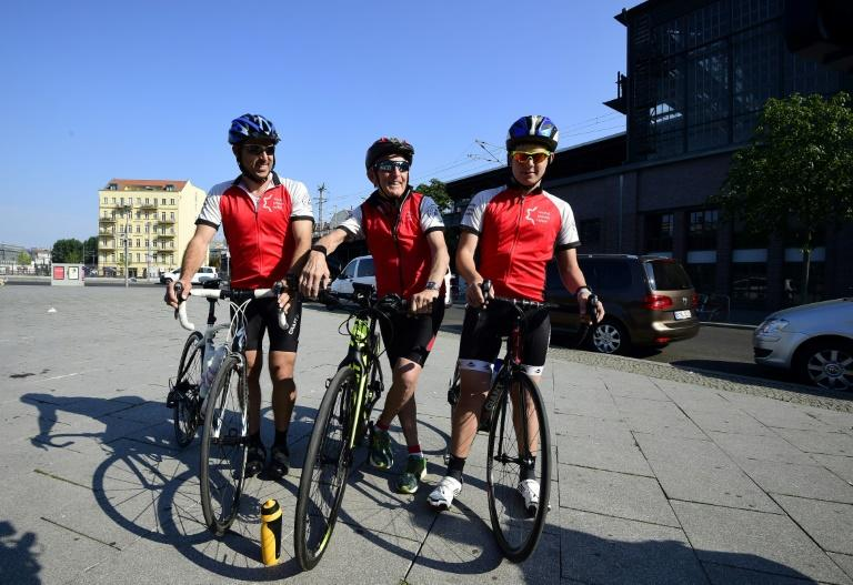 The trio are tackling the ride alongside 39 other cyclists