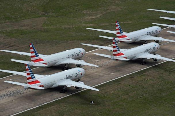 PHOTO: American Airlines passenger planes crowd a runway where they are parked due to flight reductions to slow the spread of coronavirus disease (COVID-19), at Tulsa International Airport in Tulsa, Ok., March 23, 2020. (Nick Oxford/Reuters, FILE)