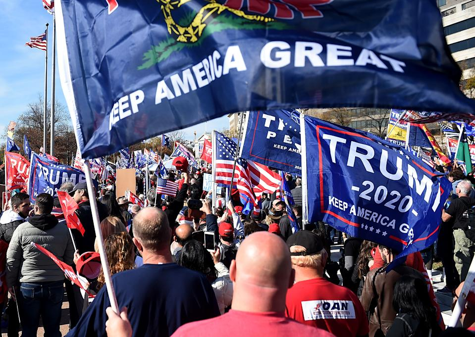 Supporters of US President Donald Trump rally in Washington, DC, on November 14, 2020. (Olivier Douliery/AFP via Getty Images)