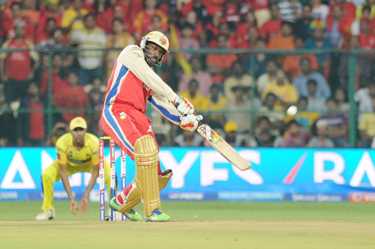 RCB player Chris Gayle in action during the RCB V/S Chennai Super Kings IPL T-20 match at Chinnaswamy Stadium, in Bangalore on Saturday 18th of May 2013(Photo:IANS)