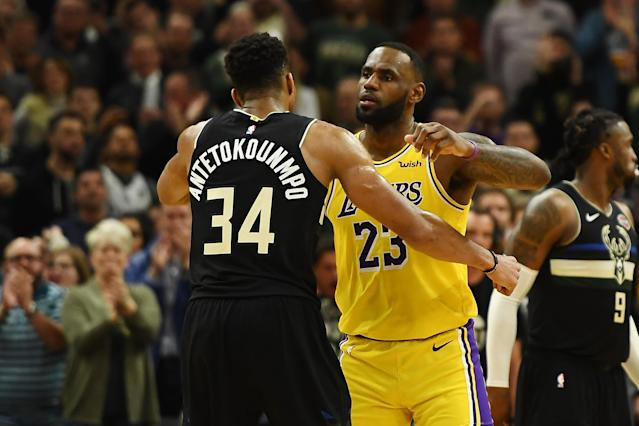 "<a class=""link rapid-noclick-resp"" href=""/nba/players/5185/"" data-ylk=""slk:Giannis Antetokounmpo"">Giannis Antetokounmpo</a> and <a class=""link rapid-noclick-resp"" href=""/nba/players/3704/"" data-ylk=""slk:LeBron James"">LeBron James</a> will serve as captains for the All-Star game next month. (Stacy Revere/Getty Images)"