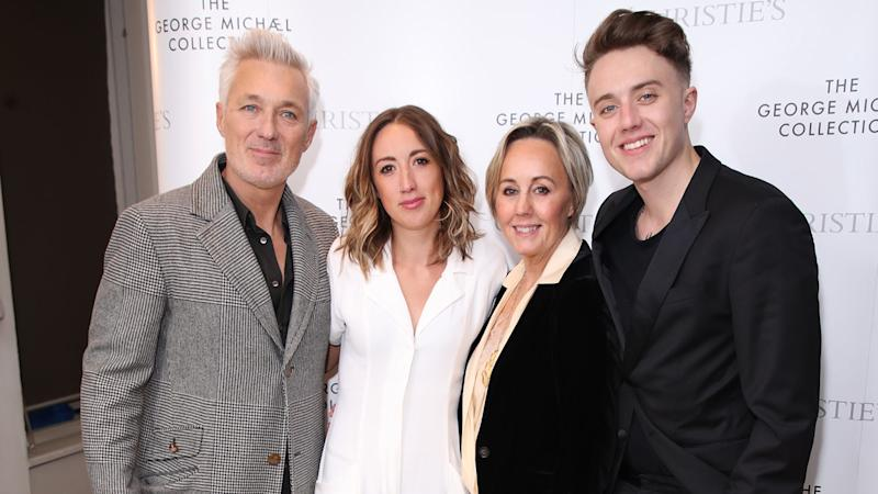 Martin Kemp, Harleymoon Kemp, Shirlie Kemp and Roman Kemp attend The George Michael Collection VIP Reception at Christies