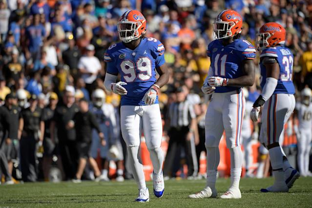 Florida defensive lineman Jachai Polite (L) put up impressive numbers in 2018, but struggled on and off the field at the NFL scouting combine. (AP Photo)