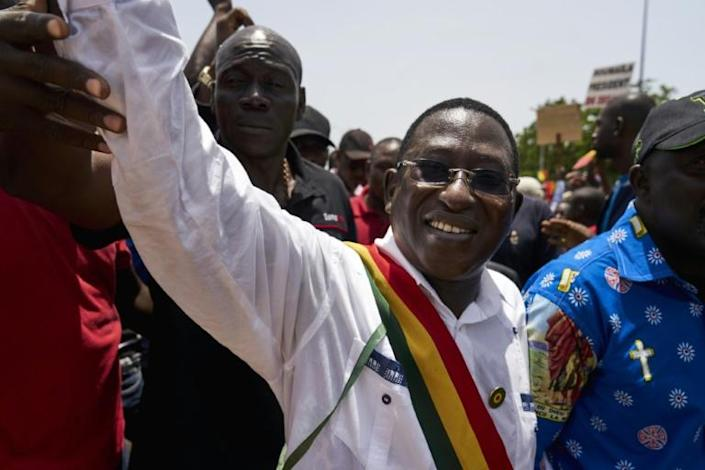 Soumaila Cisse, shown here at a Bamako march in 2018, died of Covid-19 in December aged 71