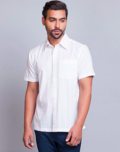 "<a href=""https://fave.co/2Ut4uSf"">BUY HERE</a> White cotton stripe shirt, from Fabindia, for Rs. 690"