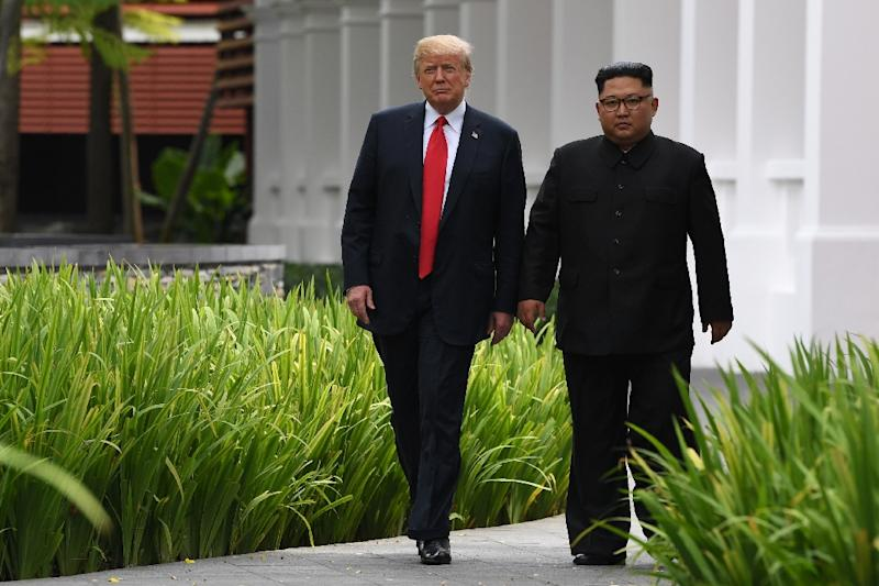 US President Donald Trump (L) first met North Korean leader Kim Jong Un in Singapore on June 11, 2018
