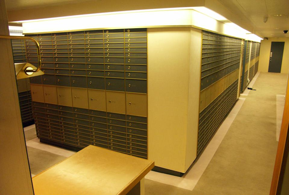 A general view of safety deposit boxes