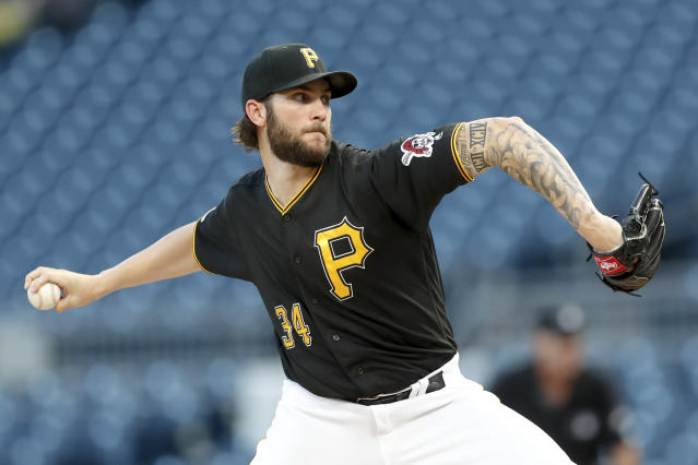 Pittsburgh Pirates starter Trevor Williams pitches to a Miami Marlins batter during the first inning of a baseball game Wednesday, Sept. 4, 2019, in Pittsburgh. (AP Photo/Keith Srakocic)