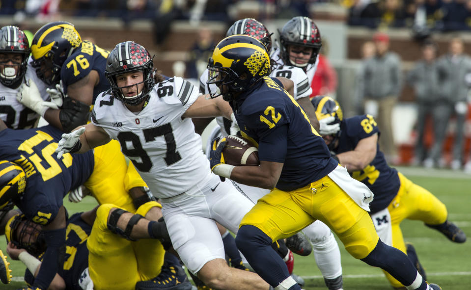Ohio State defensive lineman Nick Bosa (97) 29 tackles for loss and 17.5 sacks during his time with the Buckeyes. (AP Photo/Tony Ding, File)