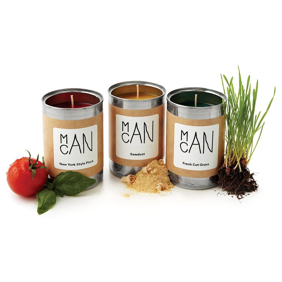 <p>Get him a <span>Man Candle</span> ($10 each) in a scent he'll love. They come in coffee, dirt, pizza, sawdust, freshly cut grass, and campfire scents. </p>