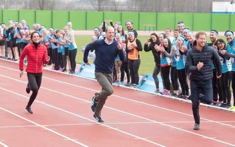 The Duke and Duchess of Cambridge and Prince Harry taking part in a London Marathon training session for the Heads Together charity - Credit: Paul Grover for the Telegraph
