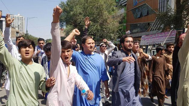 A group of Afghans stage a protest against Pakistan on Tuesday, September 7 (Photo: Anadolu Agency via Getty Images)