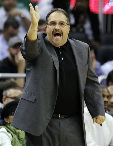 Orlando Magic head coach Stan Van Gundy shouts to his players during the first half of an NBA basketball game against the Charlotte Bobcats, Tuesday, Jan. 17, 2012, in Orlando, Fla. (AP Photo/John Raoux)