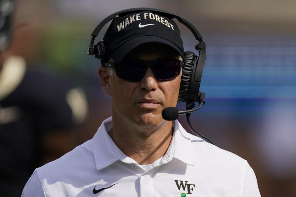 Wake Forest head coach Dave Clawson watches during the second half of an NCAA college football game against Louisville on Saturday, Oct. 2, 2021, in Winston-Salem, N.C. (AP Photo/Chris Carlson)