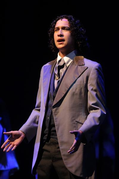 This June 25, 2012 photo released by The Jimmy Awards shows Joshua Grosso, 18, from Tampa, Fla., performing at the Minskoff Theatre in New York. Grosso was named best actor at the fourth annual National High School Musical Theater Awards, nicknamed the Jimmy Awards after theater owner James Nederlander. He along with best actress winner Elizabeth Romero, 18, from Fullerton, Calif., received $10,000 scholarship awards, capping a months-long winnowing process that began with 50,000 students from 1,000 schools. Sixty finalists were invited to New York to compete for the title and make their Broadway debuts on the Minskoff Theatre stage. (AP Photo/The Jimmy Awards, Henry McGee)
