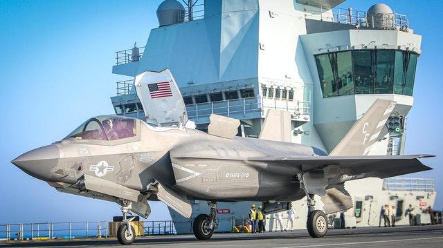 An F-35B stealth jet of the US Marines Corps VMFA-211 (The Wake Island Avengers) aboard the Royal Navy carrier HMS Queen Elizabeth