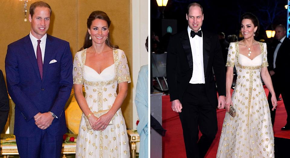 The Duchess of Cambridge re-wore an Alexander McQueen number from 2012 at the 2020 BAFTAs. [Photo: Getty/PA]