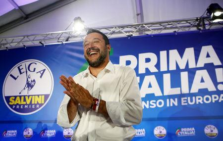 Deputy Prime Minister and League party leader Matteo Salvini reacts after a news conference at the League party headquarters, following the results of the European Parliament elections, in Milan, Italy May 27, 2019. REUTERS/Alessandro Garofalo
