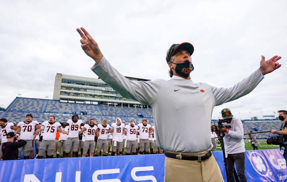 Head coach Mike Gundy will take his Oklahoma State Cowboys on the road to Boise State in 2021.