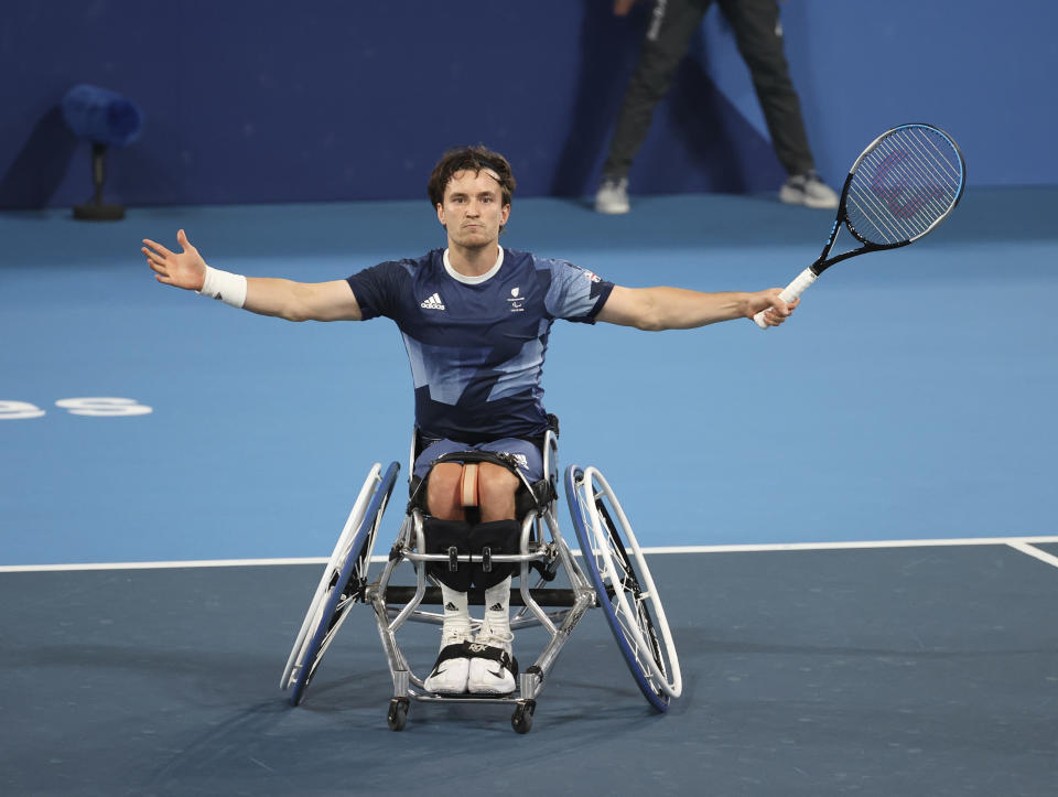 Reid, 29, cut a frustrated figure and he and wheelchair doubles partner Alfie Hewett suffered a second consecutive defeat in a Paralympic final