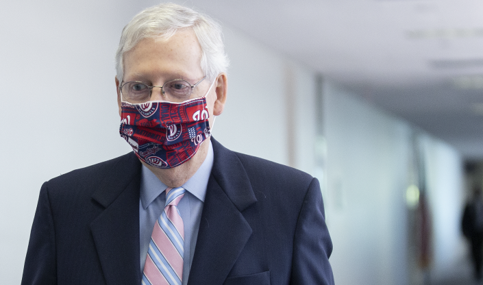 Senate Majority Leader Mitch McConnell, a Republican from Kentucky, wears a protective mask while arriving to a Senate Republican luncheon on Capitol Hill in Washington, D.C., U.S., on Tuesday, July 28, 2020. (Photo: Stefani Reynolds/Bloomberg via Getty Images)