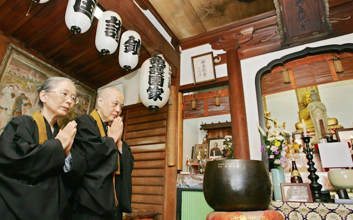 Koa Kannon temple in Atami was previously rumoured to be one of the places where the war criminals' cremated remains were interred - and became an shrine for nationalists as a result - AFP
