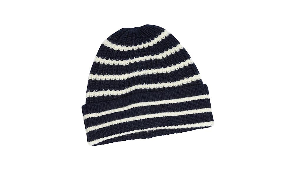 "$80, Todd Snyder. <a href=""https://www.toddsnyder.com/collections/sale-accessories/products/drakes-wool-stripe-hat-navy-navy"" rel=""nofollow noopener"" target=""_blank"" data-ylk=""slk:Get it now!"" class=""link rapid-noclick-resp"">Get it now!</a>"
