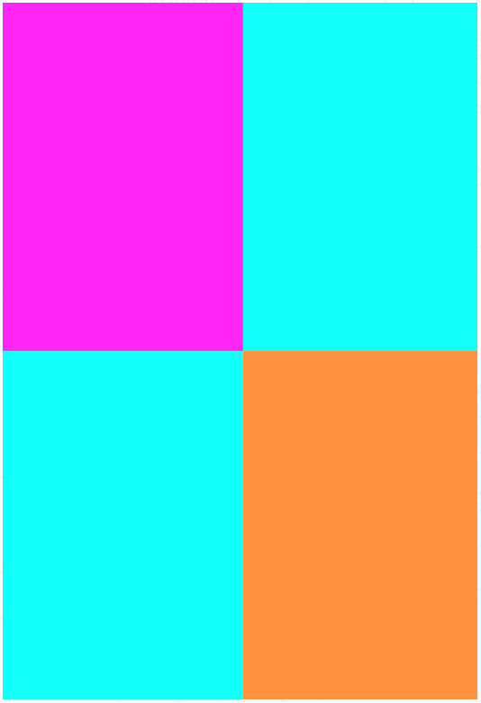 <p>There are only three colours. The orange and pink horizontal lines trick your brain into perceiving the turquoise in the bottom left rectangle as being different to the colour used in the top right. In fact, it's the same colour used in both. Photo: Lenstore </p>