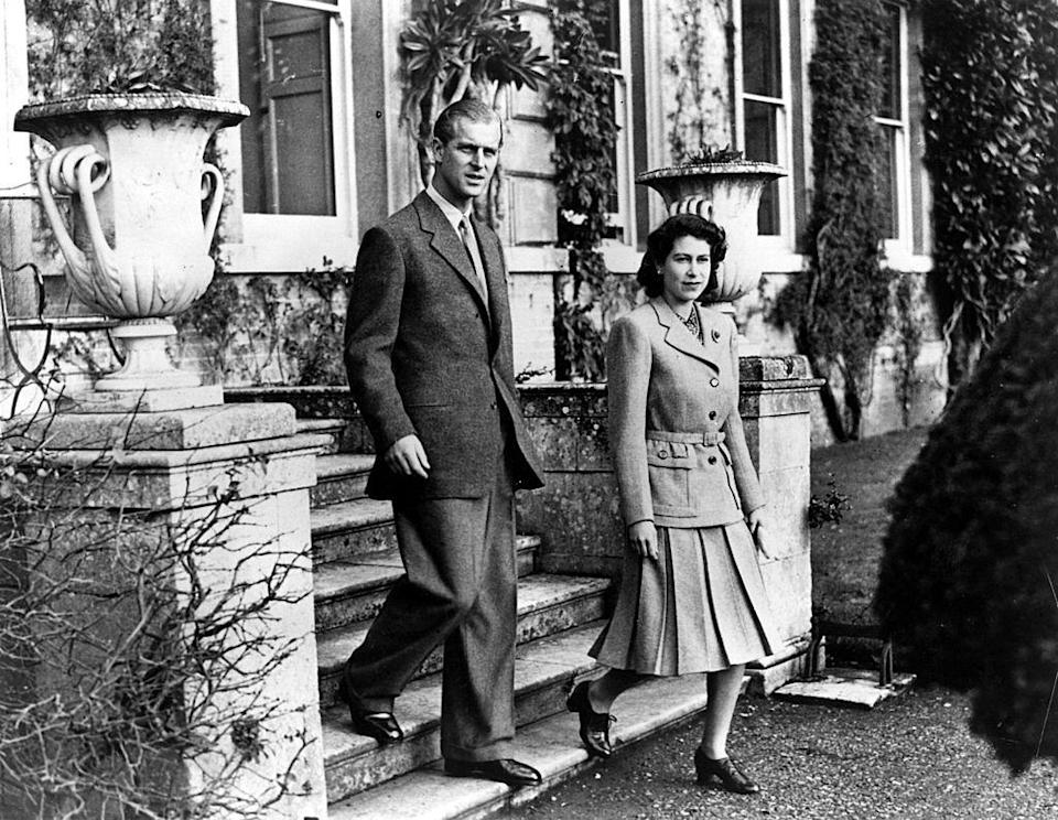 <p>Prince Phillip and Queen Elizabeth on their honeymoon at Broadlands in Hampshire.</p>