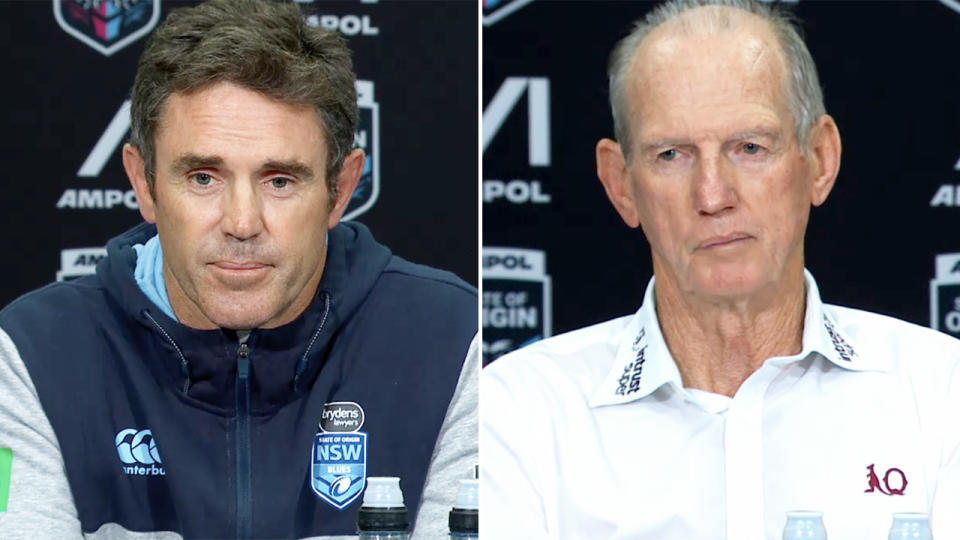 Wayne Bennett and Brad Fittler, pictured here during their post-match press conferences.