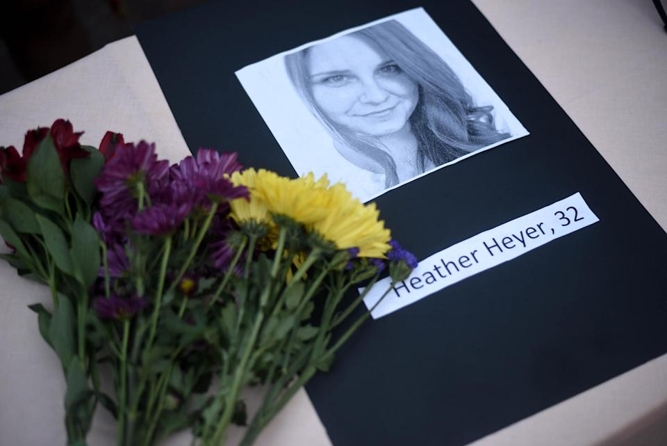 A makeshift memorial to honour Heyer after she died in Charlottesville: AP