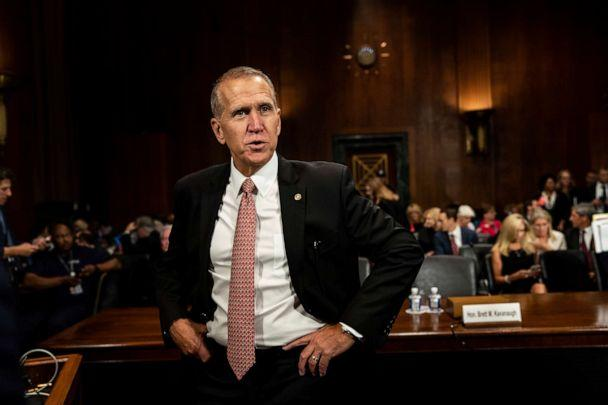 PHOTO: In this Sept. 27, 2018, file photo, Sen. Thom Tillis stands during a break in a hearing on Capitol Hill in Washington D.C. (Erin Schaff/The New York Times via AP, Pool)