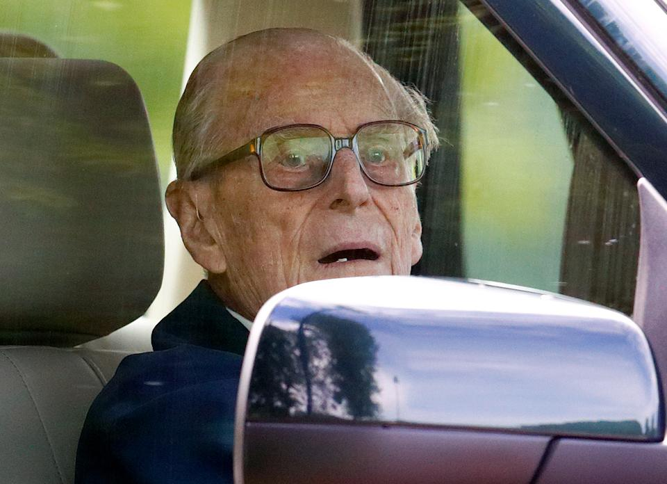 Prince Philip, Duke of Edinburgh seen driving his Land Rover on day 5 of the Royal Windsor Horse Show in Home Park on May 13, 2018 in Windsor, England. This year marks the 75th Anniversary of the Windsor Horse Show which was first held in 1943.