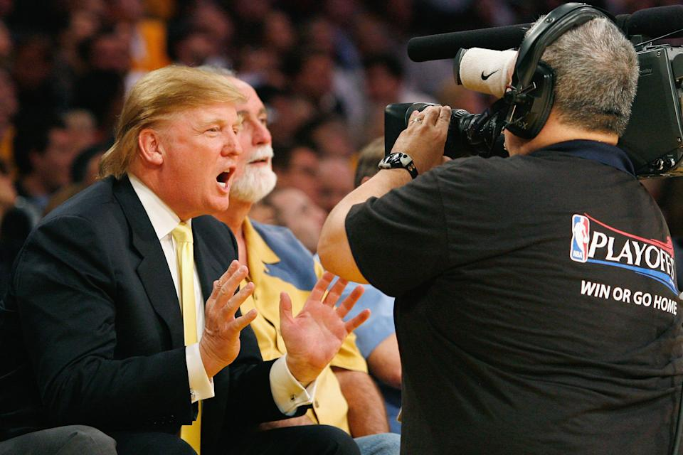 LOS ANGELES, CA - APRIL 26: Donald Trump attends the Los Angeles Lakers vs. Phoenix Suns NBA playoff game on April 26, 2007 at the Staples Center in Los Angeles, California. (Photo by Vince Bucci/Getty Images).