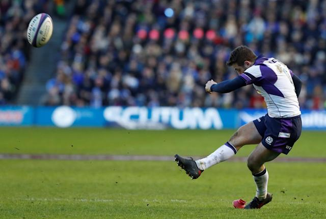 Rugby Union - Six Nations Championship - Scotland vs France - BT Murrayfield, Edinburgh, Britain - February 11, 2018 Scotland's Greig Laidlaw kicks a penalty REUTERS/Russell Cheyne