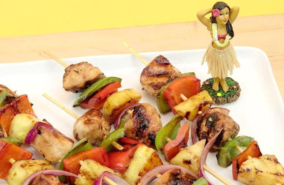 """<p>Don't grill this summer without this tangy crowd-pleasing recipe.</p><p>Get the recipe from <a href=""""https://www.delish.com/cooking/recipe-ideas/recipes/a47439/hawaiian-chicken-and-pineapple-skewers-recipe/"""" rel=""""nofollow noopener"""" target=""""_blank"""" data-ylk=""""slk:Delish"""" class=""""link rapid-noclick-resp"""">Delish</a>.</p><p><a class=""""link rapid-noclick-resp"""" href=""""https://www.amazon.com/Kuhn-Rikon-Silicone-Rainbow-10-Inch/dp/B000XR2EUY/?tag=syn-yahoo-20&ascsubtag=%5Bartid%7C1782.g.2180%5Bsrc%7Cyahoo-us"""" rel=""""nofollow noopener"""" target=""""_blank"""" data-ylk=""""slk:BUY NOW"""">BUY NOW</a> <strong><em>Whisk, $18, amazon.com</em></strong></p>"""